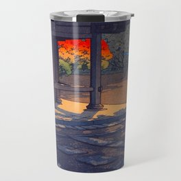 Vintage Japanese Woodblock Print Colorful Fall Trees Shinto Shrine Japanese Architecture Travel Mug
