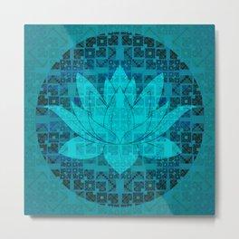Blue Geometric Glitch Lotus Flower Metal Print