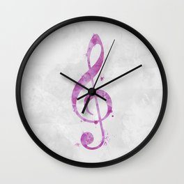 Watercolor Treble Clef in Pink Wall Clock