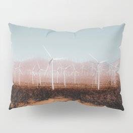 Wind turbine in the desert and mountain view at Kern County California USA Pillow Sham