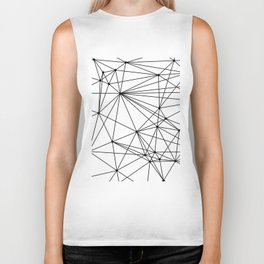 White & Black geometric web Biker Tank