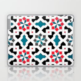 Oriental Pattern - Geometric Design, red / blue / grey Laptop & iPad Skin