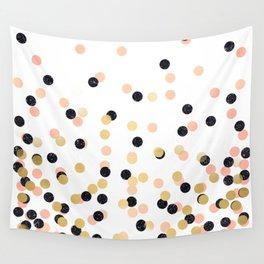 Pink & Black Polka Dots Wall Tapestry