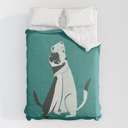 Weasel hugs in teal Comforters