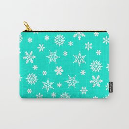 Snow Flurries-Frosty Blue Carry-All Pouch