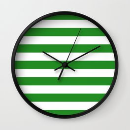 Horizontal Stripes (Forest Green/White) Wall Clock