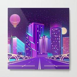 Synthwave Neon City #5 Metal Print