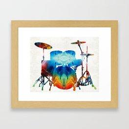 Drum Set Art - Color Fusion Drums - By Sharon Cummings Framed Art Print