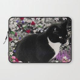 Freckles in Flowers II - Tuxedo Kitty Cat Laptop Sleeve