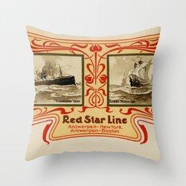 Red Star Line Antwerp New York ocean liners Throw Pillow