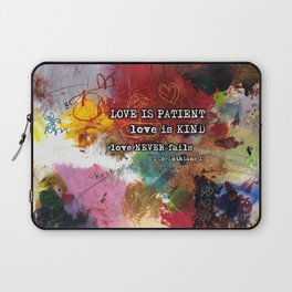 Love NEVER FAILS Scripture Bible Verse Abstract Art Painting by Michel Keck Laptop Sleeve