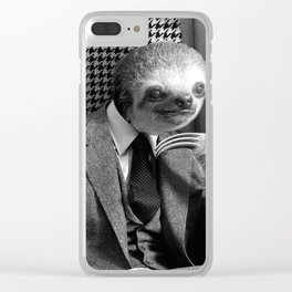 Gentleman Sloth in fancy armchair Clear iPhone Case