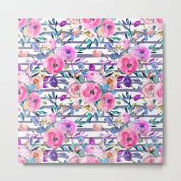 Pink mauve lilac hand painted watercolor roses floral stripes Metal Print