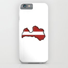 Latvia Map and Latvian Flag iPhone Case