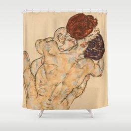 """Egon Schiele """"Mann und Frau, Umarmung"""" Shower Curtain"""