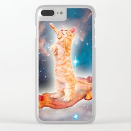 Bacon Surfing Cat in the Universe Clear iPhone Case