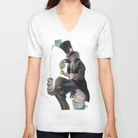 mad hatter V-neck T-shirts featuring Mad Hatter by Oliver Dominguez