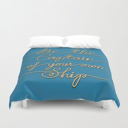 Be the Captain of your own Ship (Blue and Beige) Duvet Cover