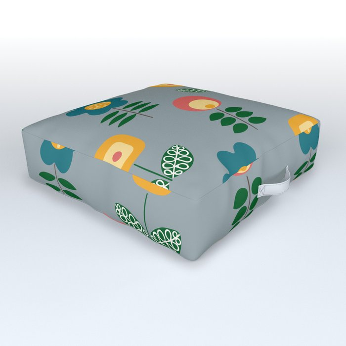 Mid Century Flowers (grey) Outdoor Floor Cushion