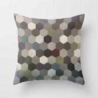 hexagon Throw Pillows featuring Hexagon  by Kitty Emsley