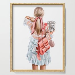 Fashion lady in pink Serving Tray