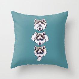 No Evil Husky Throw Pillow