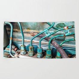 FoMoCo Generator Motor - Teal Industrial Art Photo Beach Towel