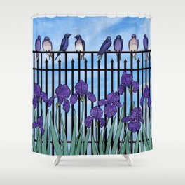 purple martins & purple irises Shower Curtain
