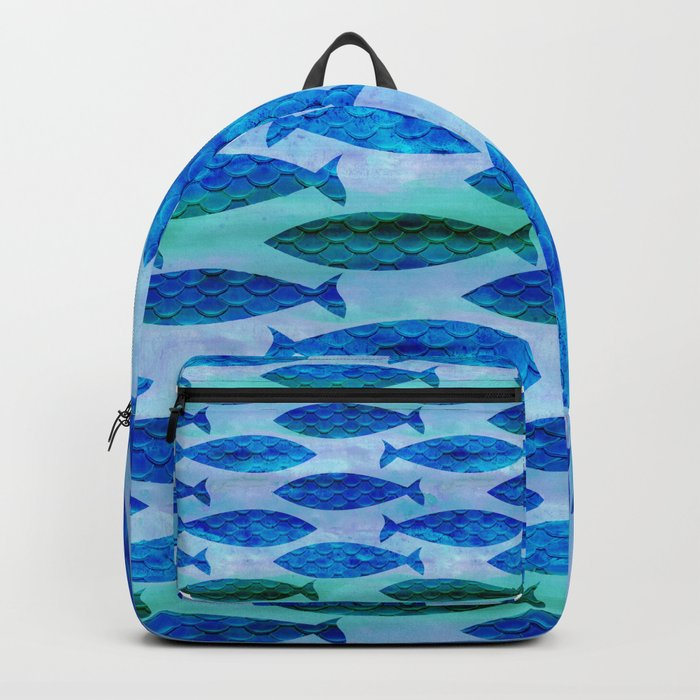 Blue Turquoise Green Watercolor Fish Pattern Backpack