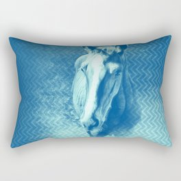 Horse emerging from the blue mist Rectangular Pillow