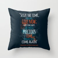 "picard Throw Pillows featuring ""Live now; make now always the most precious time. Now will never come again"" Captain Picard by Elizabeth Cakovan"