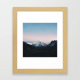 Blue & Pink Himalaya Mountains Framed Art Print