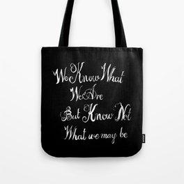 shakespeare quote black Tote Bag