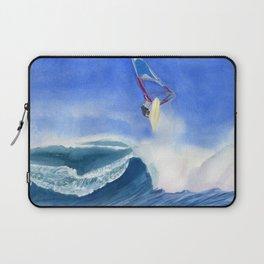 Windsurfer Watercolor Painting Laptop Sleeve