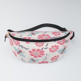 Honey Bees on Coral Pink Flowers Fanny Pack