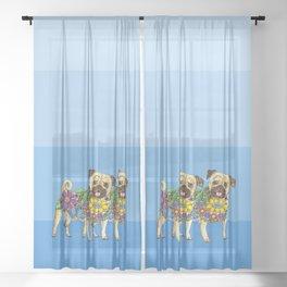 Pug Pals Sheer Curtain