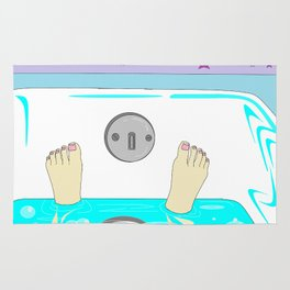 A Relaxing Warm Bubble Bath with Painted Toenails Rug