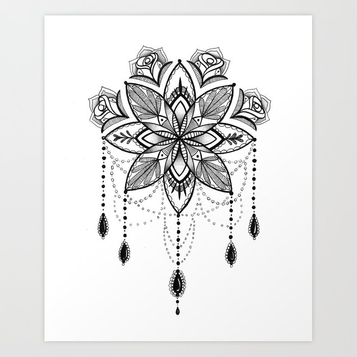 Flowing Mandala Chandelier Drawing Art Print by robinelizabethart ...
