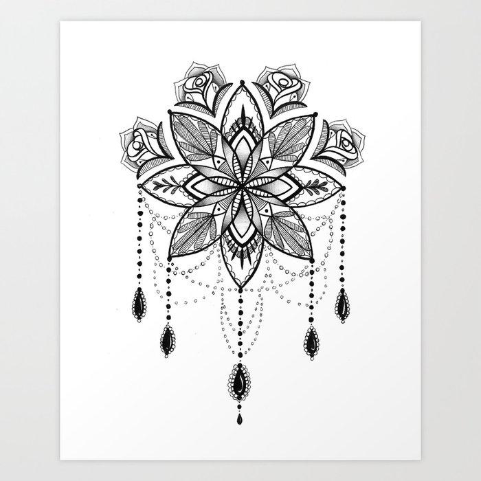 Flowing Mandala Chandelier Drawing Art Print