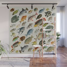 vintage fish swim on bone Wall Mural
