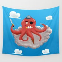 pirate ship Wall Tapestries featuring Pirate Octopus by gunberk