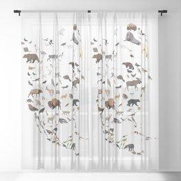 Wild North America map Sheer Curtain