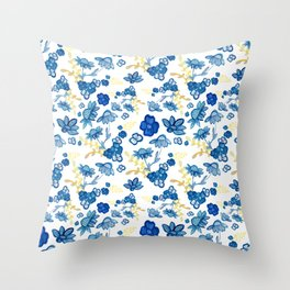 Blue and Yellow Watercolour Floral Pattern Throw Pillow