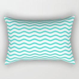 Turquoise and White Chevron Wave Rectangular Pillow