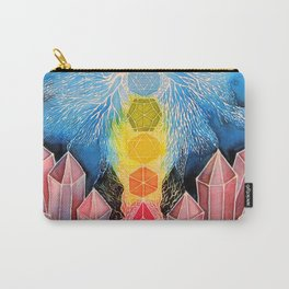 Mushroom Chakra Crystal Tapestry Rainbow Psychedelic Sacred Geometry Painting Art (Teonanacatl) Carry-All Pouch