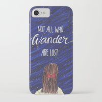 not all who wander iPhone & iPod Cases featuring WANDER by Cora Jaramillo