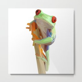 Green Frog on The Branch Lowpoly Art Illustration Metal Print