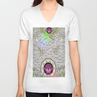 asian V-neck T-shirts featuring Asian pattern by Pepita Selles