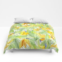 watercolor pattern tropical leaves and flowers bird of paradise Comforters