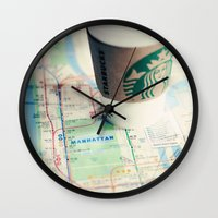 starbucks Wall Clocks featuring Manhattan and Starbucks by Kim Fearheiley Photography